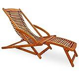 Sonnenliege | Akazienholz | Klappbar | inkl. Kopfkissen | Ergonomisch | Gartenliege Sunlounger Liegestuhl Holzliege