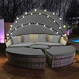 Swing & Harmonie Polyrattan Sonneninsel mit LED Beleuchtung + Solarmodul inklusive Abdeckcover Rattan Lounge Sunbed Liege Insel mit Regencover Sonnenliege Gartenliege (210cm, Grau)