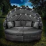 BRAST Poly Rattan Sonneninsel Grau/Dunkelgrau Ø210cm incl. Abdeckung + LEDs Garten Liege Insel Gartenmöbel Lounge Sitzgruppe 3 Farben