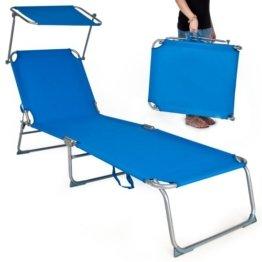 TecTake Gartenliege Sonnenliege Strandliege Freizeitliege mit Sonnendach 190cm -diverse Farben- (Blau) - 1